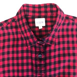 JCrew Factory XS Black/Red Gingham Button Down